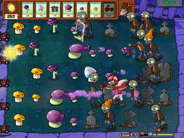 Plants Vs Zombies - playing a night time level